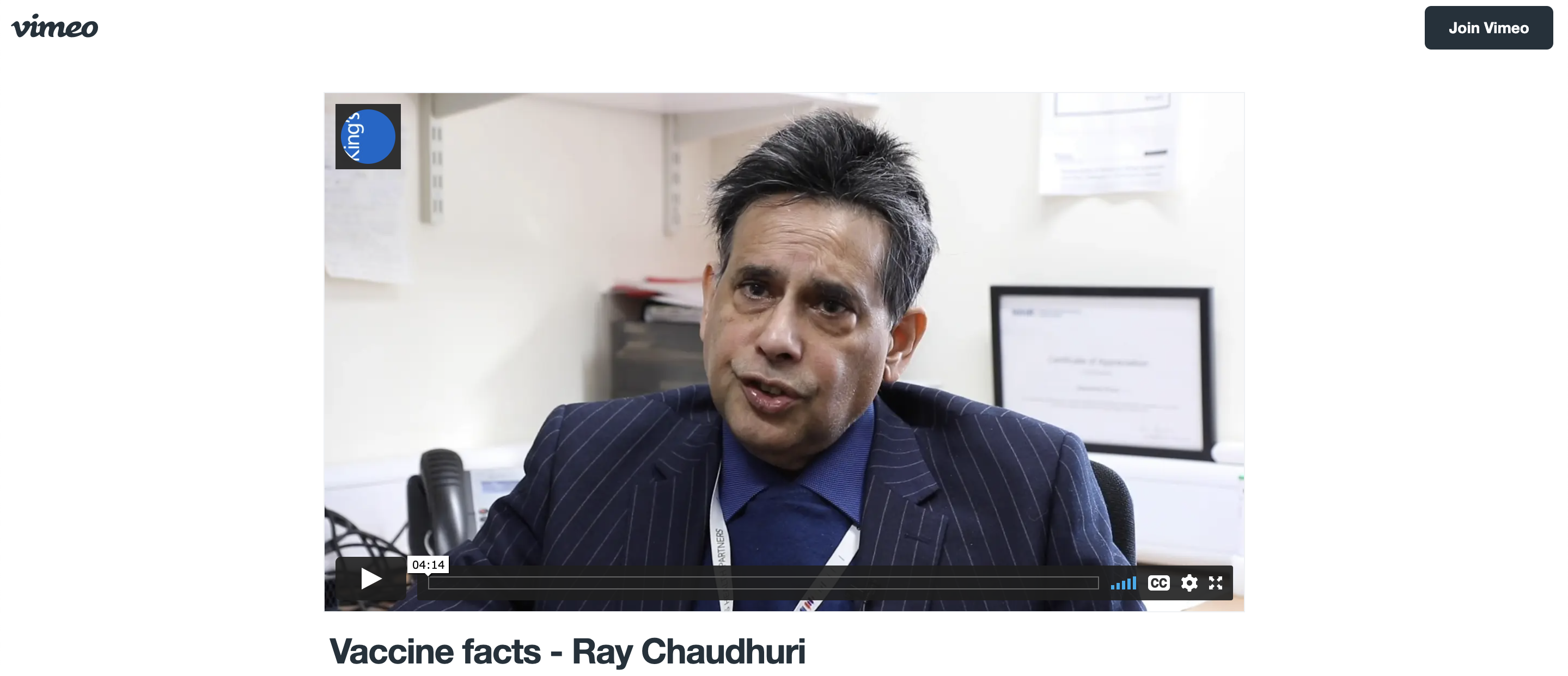 Prof K Ray Chaudhuri discusses COVID-19 vaccines on Vimeo